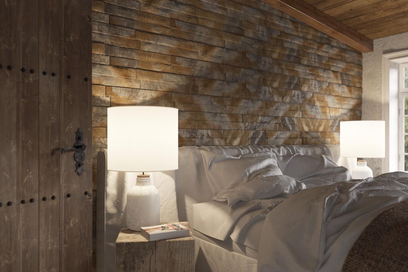 Aranżacja sypialni w drewnie Amberia Natural Stone Master